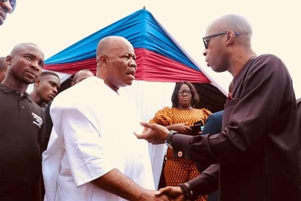 Akwa Ibom Speaker Onofiok Luke & Godswill Akpabio Exchange Greetings At A Function