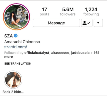 SZA Changes Her Name To 'Amarachi Chinonso' On Instagram