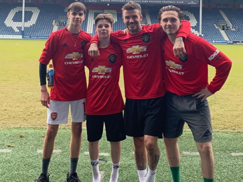 David Beckham And His Three Sons Pose In New Manchester United Jerseys
