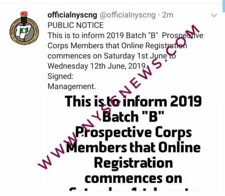 NYSC 2019 Batch B Registration Date Postponed, New Date Unveiled