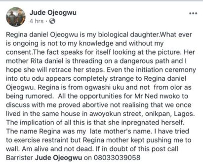 Actress, Regina Daniels Slams Her Supposed Father
