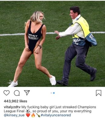 Instagram Account Of Russian Model Who Invaded UCL Finals Pitch Hacked After Gaining 2.5 Million Fans