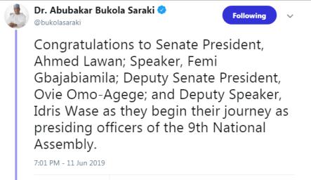 Saraki Congratulates Lawan, Omo-Agege, Femi Gbajabiamila, Idris Wase