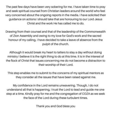 Pastor Fatoyinbo Steps Down