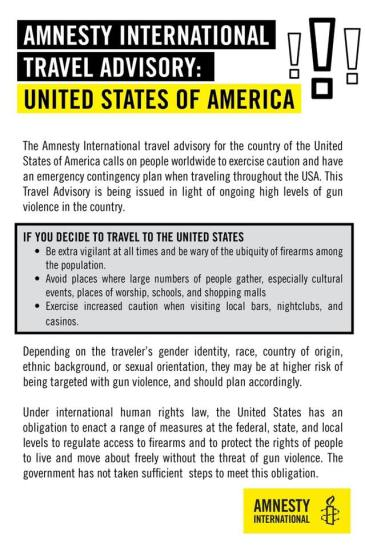 Amnesty International Issues Travel Warning For Travelers And Visitors To The United States