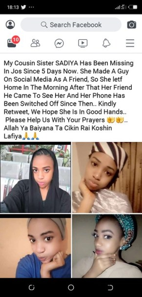 Beautiful Nigerian Lady Missing After Meeting Facebook Lover