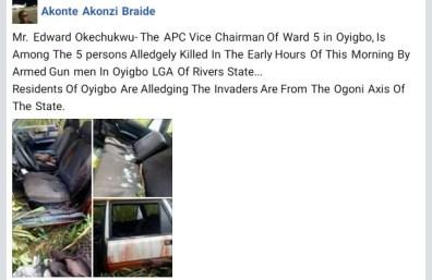 Gunmen Kill APC Vice Chairman In Rivers State