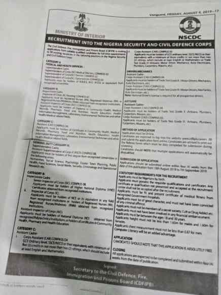 How To Apply For Nigeria Civil Defence Corps (NSCDC) 2019 Recruitment