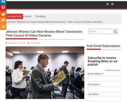 Jehovah's Witnesses Changed Its Rule On Blood Transfusion