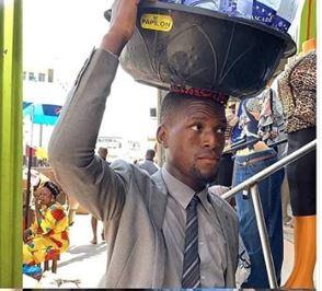 See Trending Photos Of Corporately Dressed Bottle Water Seller In Lagos