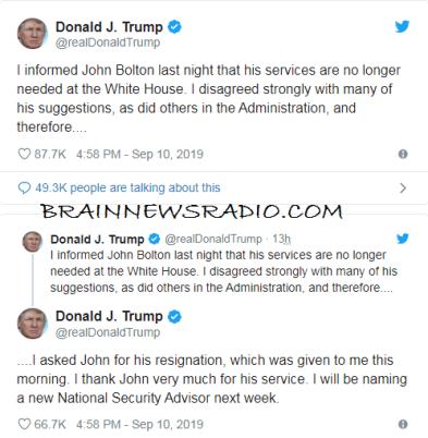 Trump Fires His National Security Advisor, John Bolton On Twitter