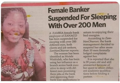 Zambian Female Banker, Suspended For Sleeping With 200 Men While Promising Them Jobs
