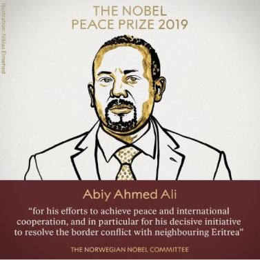 Prime Minister Of Ethiopian, Abiy Ahmed Wins 2019 Nobel Peace Prize