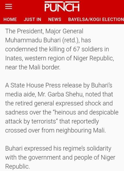 PUNCH Begins Addressing President Buhari As 'Major General'