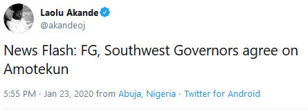 FG And Southwest Governors Reach Agreement On Amotekun