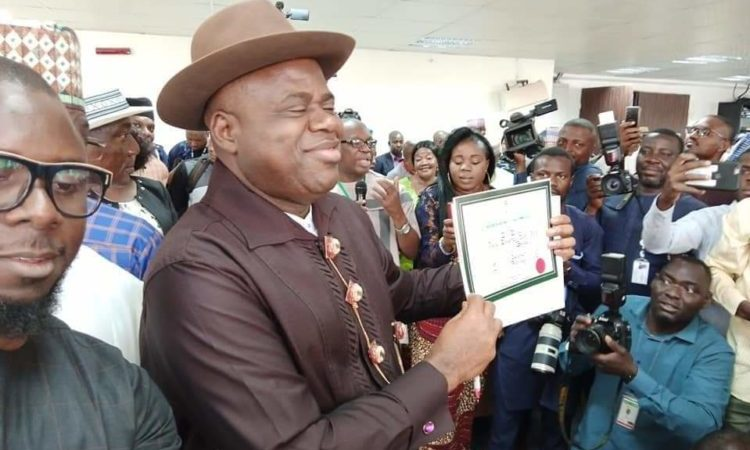 Douye Diri Shows Off His Certificate Of Return
