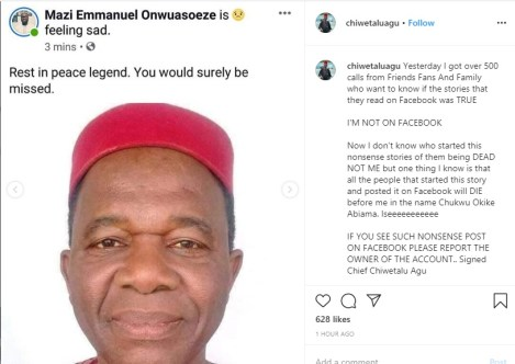 Nollywood Actor, Chiwetalu Agu Is Not Dead