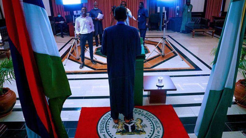 See Photos As President Buhari Wore Pam Slippers To Address The Nation Instead Of Shoes