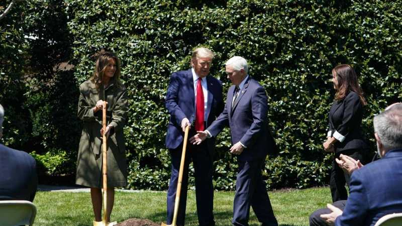 Trump mocked for planting trees on Earth Day amid climate denial