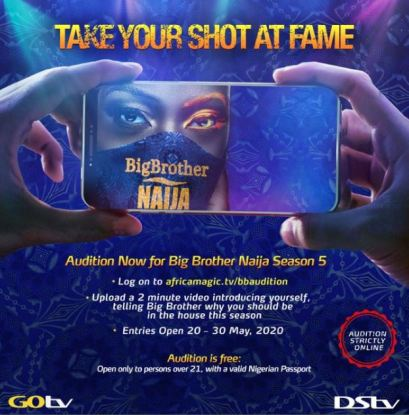 Big Brother Naija Season 5 Is Back! As Audition For BBN 2020 Edition Is Now Open