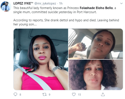 Single Mum Commit Suicide In Rivers State After Crying Out On Facebook
