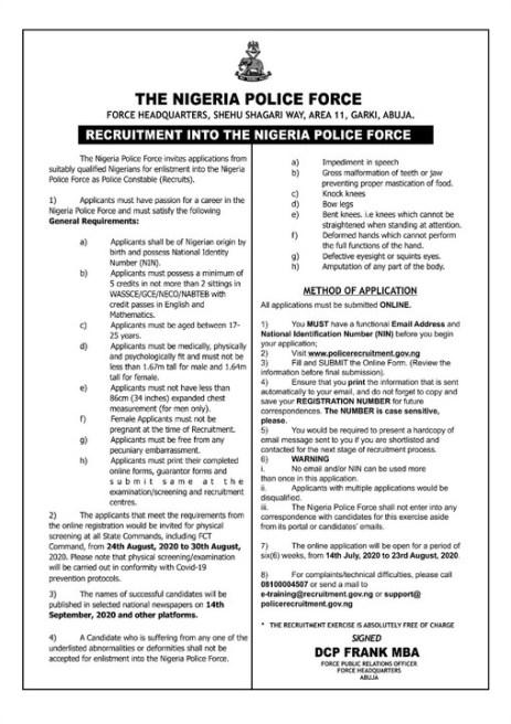 2020 Nigeria Police Recruitment