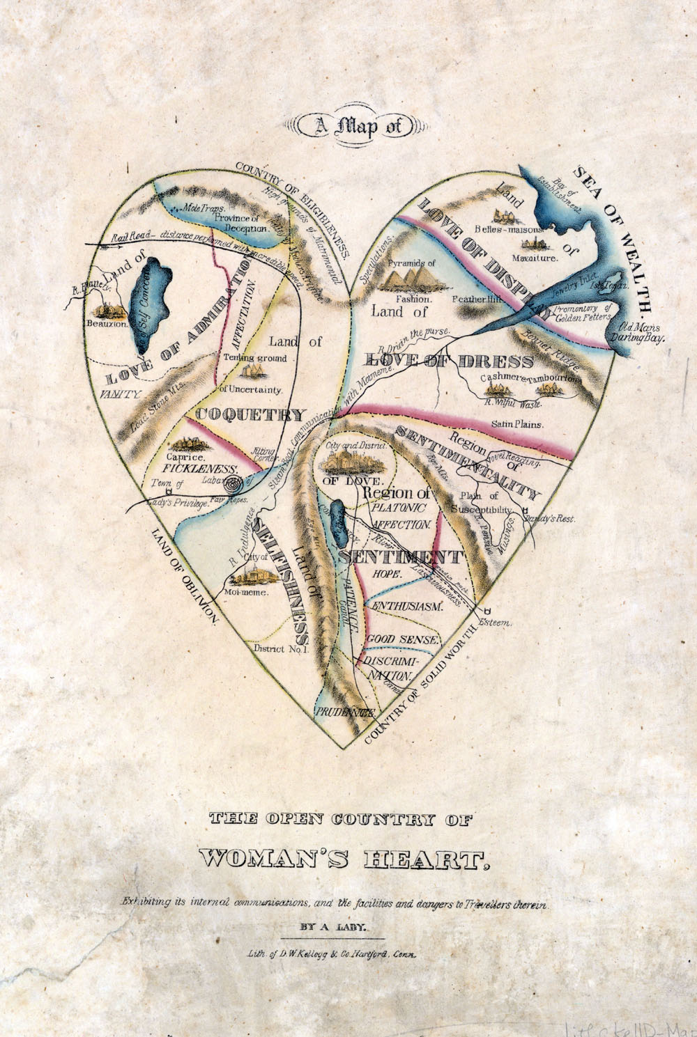 Map of a Woman's Heart, image in Brain Pickings (created by D. W. Kellogg circa 1833–1842)