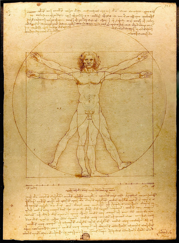 Vitruvian Man (Leonardo da Vinci, c. 1487 This sketch, and the notes that go with it, show how da Vinci understood the proportions of the human body. The head measured from the forehead to the chin was exactly one tenth of the total height, and the outstretched arms were always as wide as the body was tall.