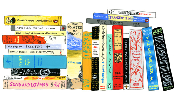 Illustrated Bookshelves Of Famous Artists And Writers Favorite Books Brain Pickings