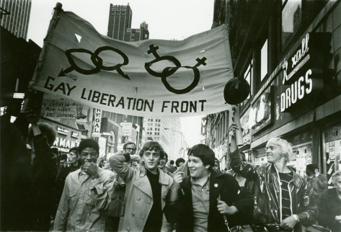 Gay Liberation Front march at Times Square, New York, 1969. (Photograph:  Diana Davies / The New York Public Library)