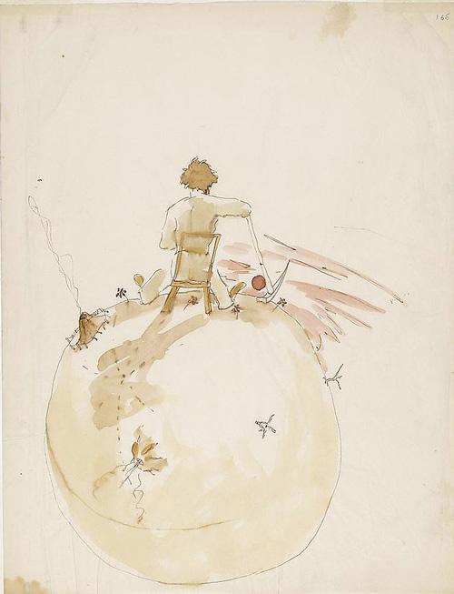 """Bien-aimé Antoine de Saint-Exupéry's Original Watercolors for """"The Little  UI76"""
