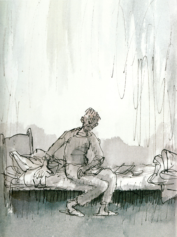 Illustration by Quentin Blake for Michael Rosen's Sad Book, a poignant parable of grief
