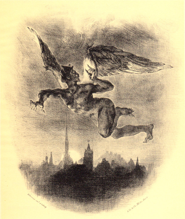 One of Delacroix's rare illustrations for Goethe's Faust