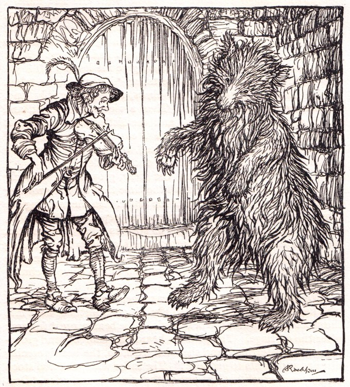 "The Cunning Little Taylor: ""When the bear heard the music he could not help beginning to dance."""