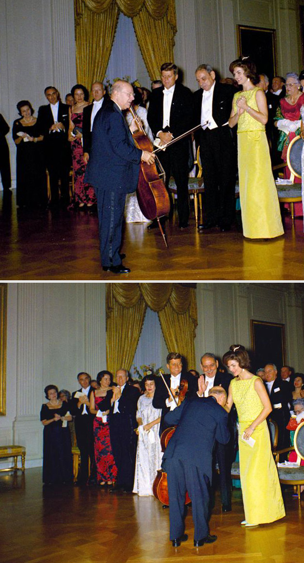 Pablo Casals with First Lady Jacqueline Kennedy and President John F. Kennedy,  November 13, 1961 (Photograph: Robert L. Knudsen /  John F. Kennedy Presidential Library and Museum, Boston)