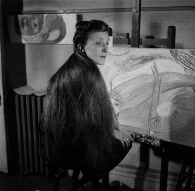 Louise Bourgeois at her studio, New York, 1946. (Louise Bourgeois Archive)