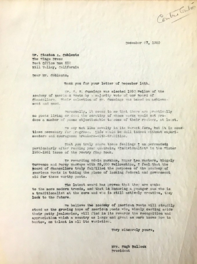 Marie Bullock's letter to Stanton A. Coblentz