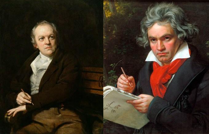 William Blake (left) and Ludwig van Beethoven.