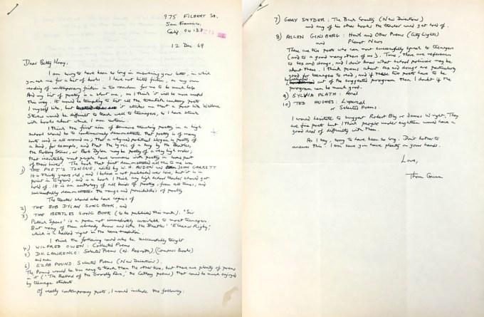 Letter from Thom Gunn to Elizabeth Kray
