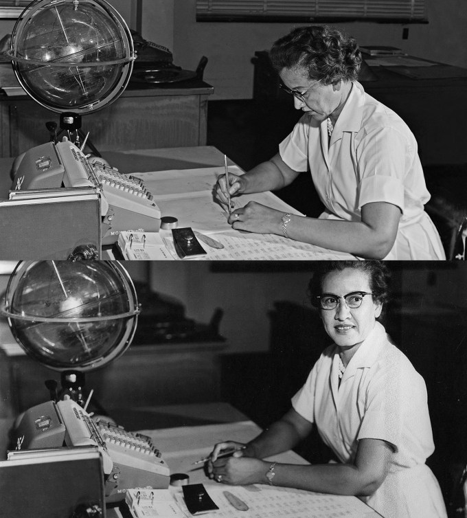 "Katherine Johnson at her Langley desk with a globe, or ""Celestial Training Device,"" 1960 (Photographs: NASA)"