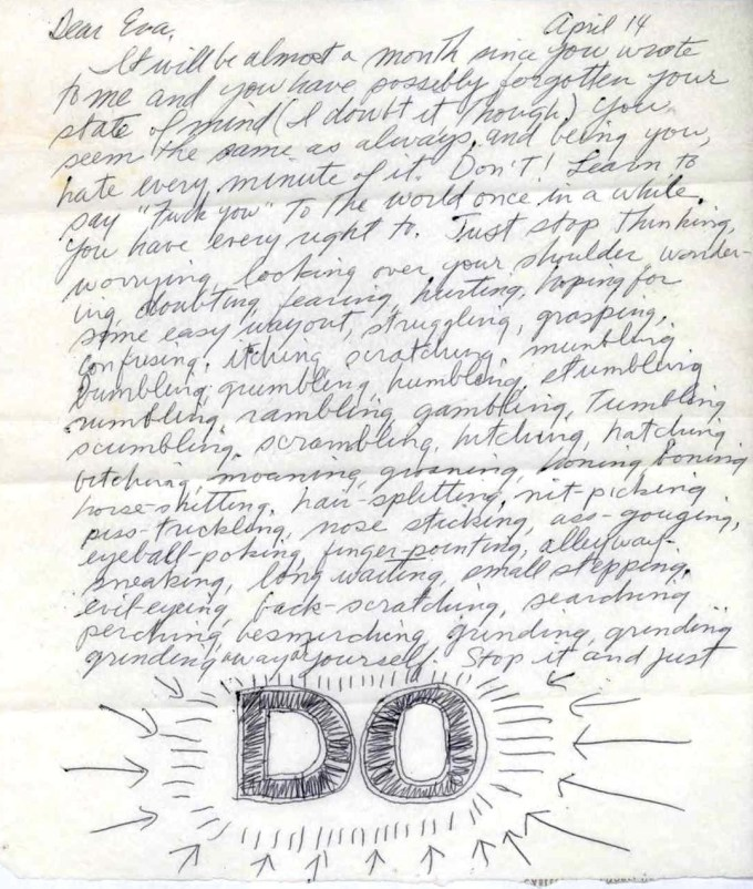 Page 1 of LeWitt's letter to Hesse (courtesy of The LeWitt Collection)