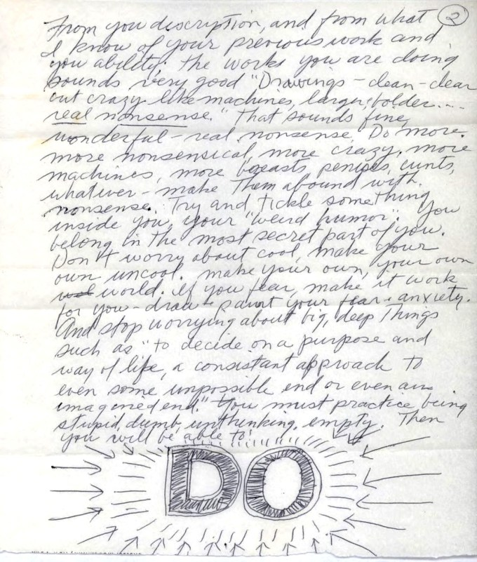 Page 2 of LeWitt's letter to Hesse (courtesy of The LeWitt Collection)