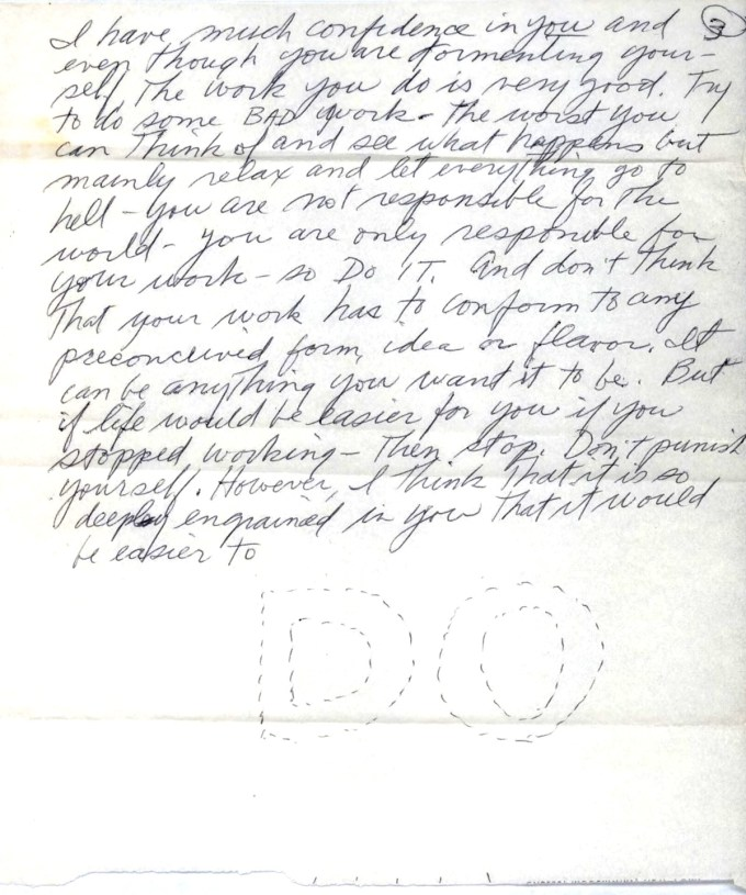 Page 3 of LeWitt's letter to Hesse (courtesy of The LeWitt Collection)