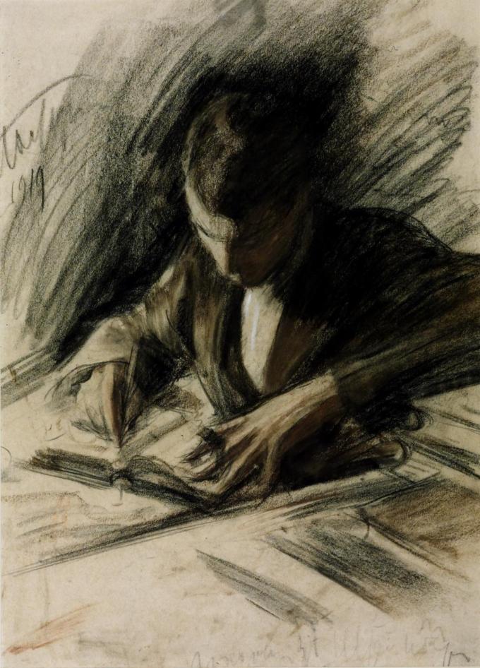 """""""Boris Pasternak Writing,"""" 1919, by Leonid Pasternak, Boris's father (Tate Museum)"""