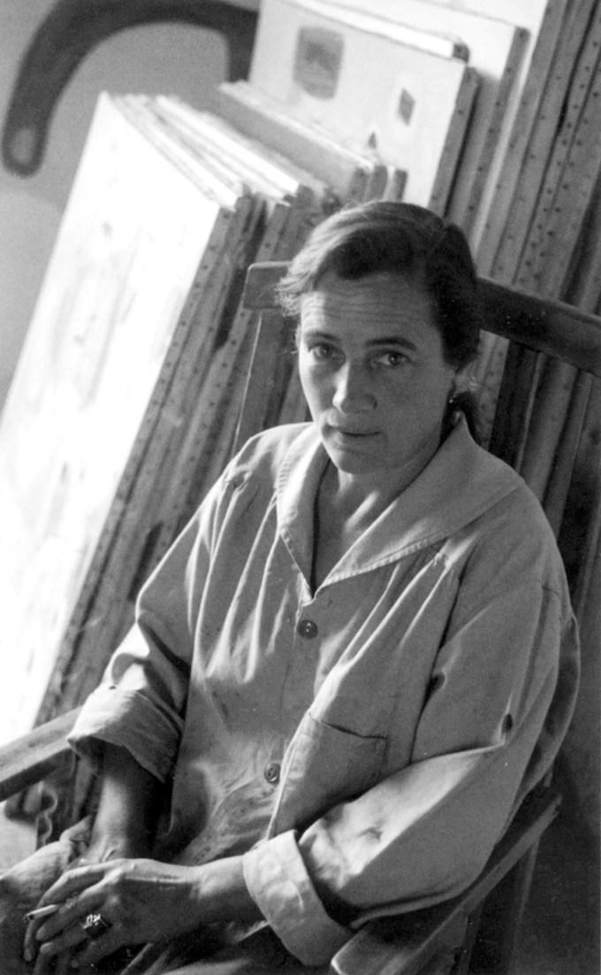 Agnes Martin in her studio, 1954. (Photograph: Mildred Tolbert)