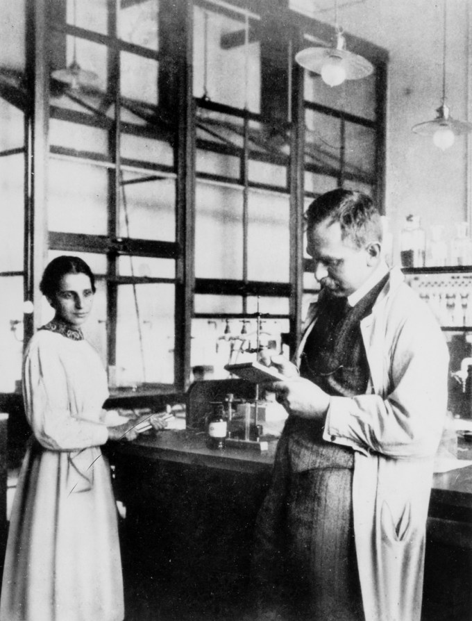Meitner and Hahn in their basement laboratory, 1913