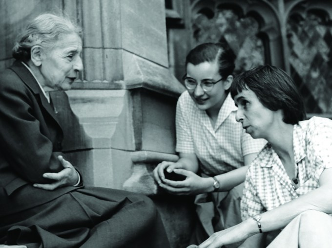 Lise Meitner with students on the steps of the chemistry building at Bryn Mawr College, April 1959.