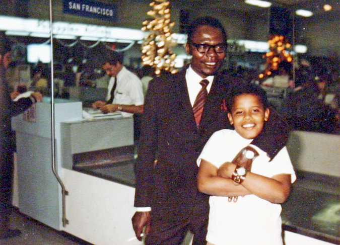 Barack Obama as a boy, with his father.