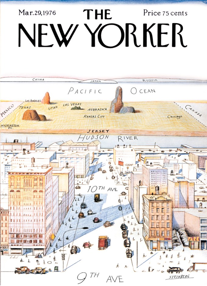 Saul Steinberg, View of the World from Ninth Avenue, 1976