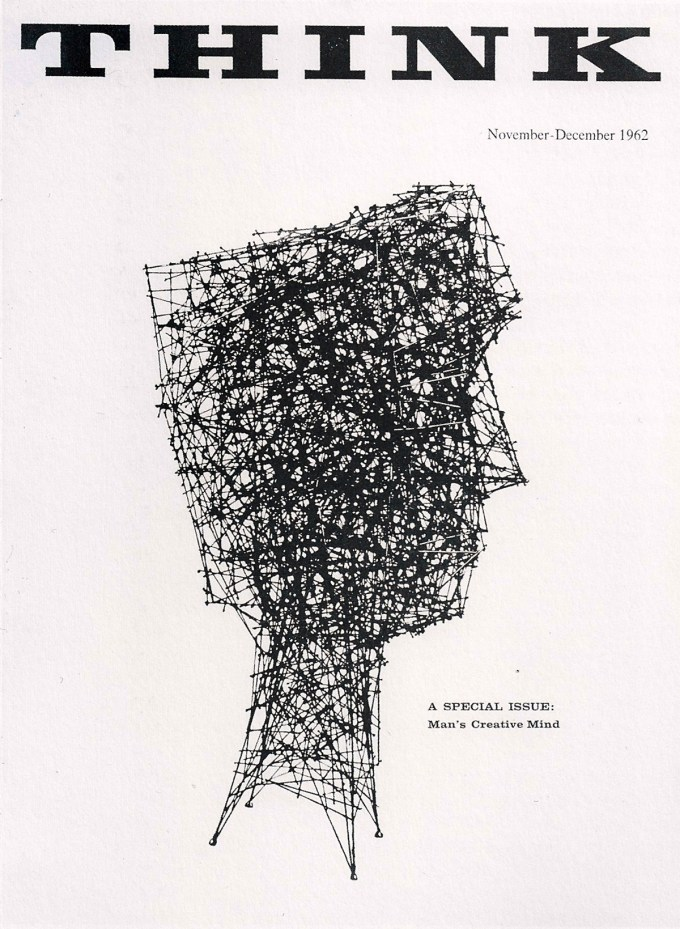 """Cover of the 1962 """"Man's Creative Mind"""" issue of IBM's THINK magazine, with cover art by Harry Bertoia"""